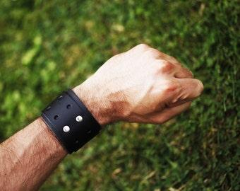 Wide Black Leather Buckle Bracelet with Single Buckle, Chunky Leather Cuff Bracelet, Wide Leather Bracelet, Unisex Black Leather Bracelet