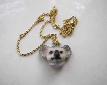 Vintage adorable Koala Bear Head Pendant Necklace /18 inches chain (birthday gift)