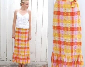 Ankle Skirt Vintage 60's Cotton Gingham  High Waist Maxi Ruffle