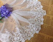 Cotton Tulle Lace Trim Cream White Floral Embroidered Lace 5.9 Inches Wide 2 Yards