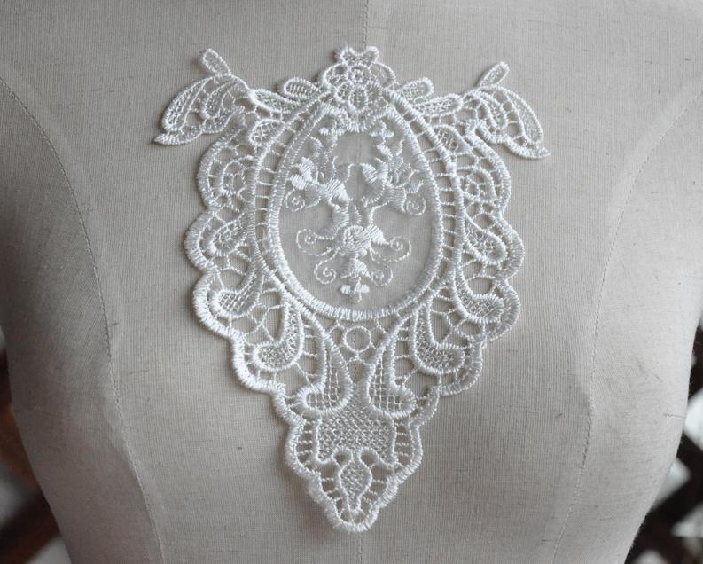 Mirror applique lace patch alecon embroidered applique 1pcs for Applique miroir