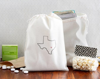 Texas Welcome Bags - State Outline Wedding Bags - Texas Party Favors - Texas Bachelorette Party - Texas Hangover Kit