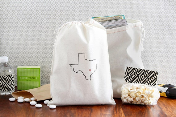 Wedding Welcome Bag Ideas Cheap : Texas Welcome Bags - State Outline Wedding Bags - Texas Party Favors ...