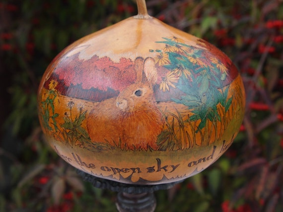 RESERVED for CHERRY: Nature's Teachings Rabbit Meadow Decorative Gourd