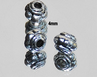 27 pcs 4mm Antique Silver Scalloped Spacer Beads