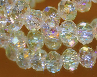 12 pcs 10x8mm Transparent Pale Yellow Jonquil AB Rondelle Faceted Glass Beads #2