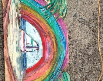 Handmade Artistic Wood Relief - Rainbow At The Beach - A folksy view of that dream get-away.