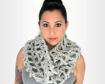 Chunky Grey Oversized Crochet Fashion Infinity Scarf, Winter Accessories
