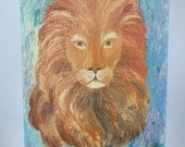VIntage 1960 Lion Portrait Painting