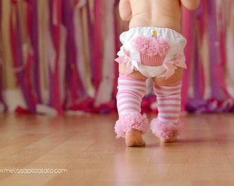 Cupcake Bloomers - Cake Smash Set -  Birthday Bloomers - Bloomers, Leg Warmers and Bow - 1st Birthday Pictures