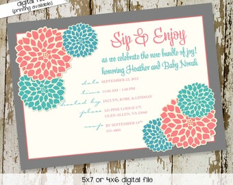 sip and see invitation baby girl shower gender reveal neutral high tea couples baptism baby blessing coed item 1359 shabby chic invitations