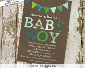 baby boy baby shower invitation couples coed bunting banner baptism high tea shower baby sprinkle diaper (item 1208) shabby chic invitations