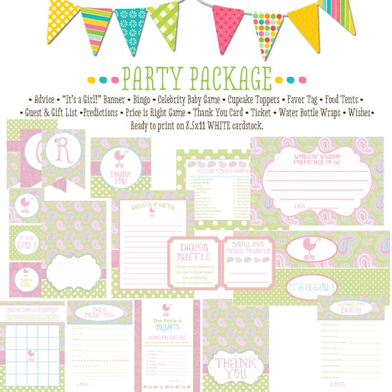 paisley baby shower invitations 1370 package AS IS Matching games, ticket banner, bingo, thank you card, water bottle wraps, cupcake toppers