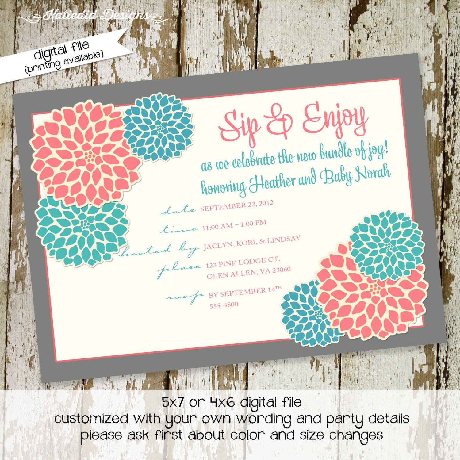 sip and see invitation baby girl shower gender reveal neutral high tea couples baptism baby blessing coed item 1359 shabby chic invitations - Free Printable Gender Reveal Party Invitations