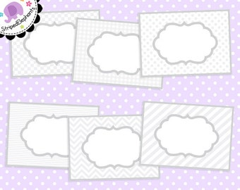 Fancy Digital Labels White - Clipart Frames - Instant Download - Commercial Use