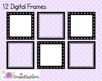 Square Digital Frame Collection 2 - Clipart Frames - Instant Download - Commercial Use