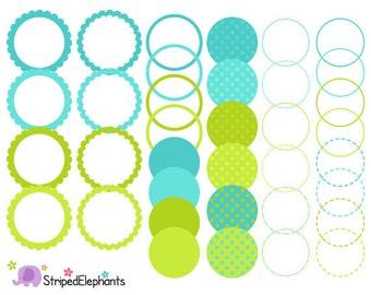 Blue and Lime Digital Frames - Clip Art Frames - Instant Download - Commercial Use
