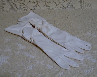 Vintage Long Ruched Dress Gloves 1950s