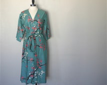 BACK ORDERED until further notice. Mid Calf Length Kimono Robe. Kimono Robe. Dressing Gown. Garden Teal. Small thru Plus Size 2XL.