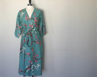 BACKORDERED until JULY. Mid Calf Length Kimono Robe. Kimono Robe. Dressing Gown. Garden Teal. Women's Pajamas. Bridesmaids Pajama Set.