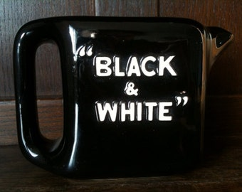 Vintage English Black and White water pitcher jug circa 1980's / English Shop