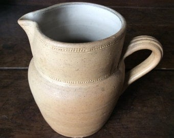 Vintage French earthware milk water custard cream jug pitcher circa 1950/1960's / English Shop