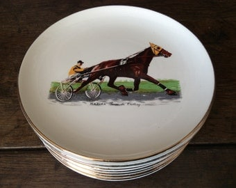Vintage French horse & trap trotting racing carriage lunch plates set of 10 and a large serving plate circa 1970's / English Shop