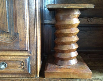 Antique French heavy wood wooden screw pillar stand vase statue circa 1910's / English Shop