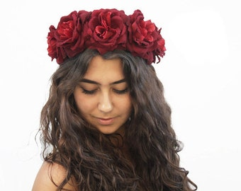 Dark Red Rose Crown - Red Rose Flower Crown, Floral Crown, Burgundy Red, Gypsy, Frida, Boho, Day of the Dead, Burgundy, Rose Floral Crown