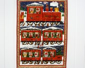 Advent Calendar Quilted Whimsical Wall Hanging Santas Train