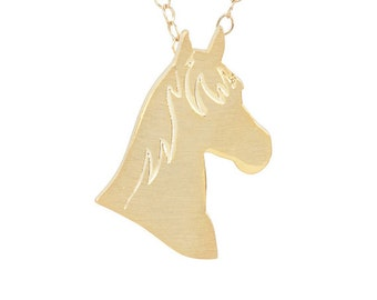 Horse necklace, Horse charm, Horse jewelry, Horse silhouette - Solid 14k Yellow Gold horse necklace, horse charm pet memorial gift