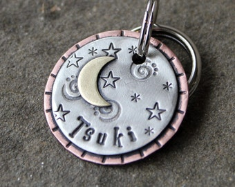Small dog or cat name tag-metal dog id tag-Crescent Moon