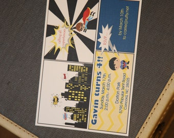 PRINTED Superhero Birthday Party Invitations, set of 25