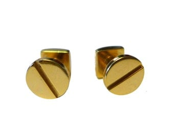 Brass Slotterd Screw Cufflinks