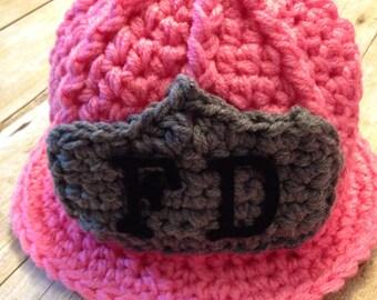 Pink baby girl fireman's hat