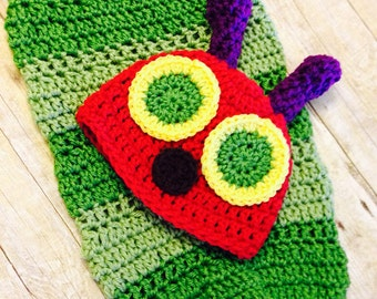 Crochet hungry caterpillar cocoon, caterpillar baby prop, newborn prop, photo prop, baby prop, baby prop for photography, baby shower gift