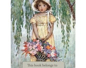 Little Girl Bookplates - Girl with Flowers Basket - Pack of Ten