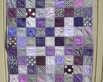 Unisex baby quilt in grey and purple, gray, baby shower present, baby birthday present MADE TO ORDER