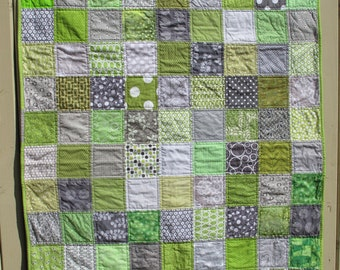 Handmade unisex baby quilt in grey and green, gray, baby shower present, baby birthday present, unisex present MADE TO ORDER