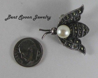Sterling Silver Marcasite Bee, Bug Pin, Vintage Judith Jack Insect Brooch, Lapel Pin, Dress Pin