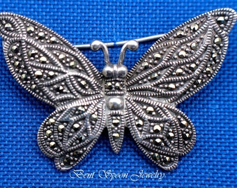 Vintage Sterling Silver Large Marcasite Butterfly Pin, Brooch, Lapel Pin, Dress Pin, Bent Spoon Jewelry
