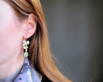 Romantic Gold Orchid Earrings w/ Light Green Framed Glass Bead