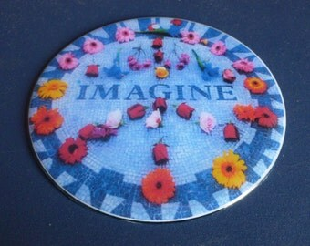 Imagine Peace Flowers  Recycled CD Magnet Art