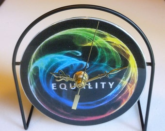 Equality  Recycled CD Clock Art