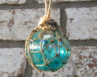 Aqua Glass Fishing Float Christmas Ornament