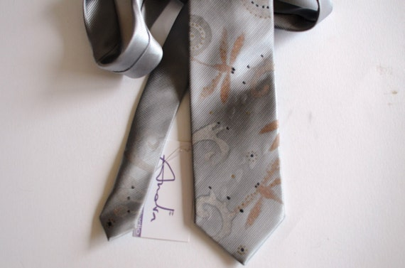 Men necktie grey, men neck tie hand painted dragonfly design - accessories for men OOAK ready to ship