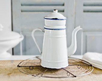 French Country White Enamel French Coffee pot Biggin Shabby Chic