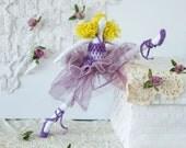 Fabric ballerina doll, art doll ballerina, purple ballerina, cotton stuffed ballerina, Size 13''