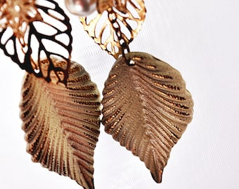 PIERCED Gold & White Winter Leaf Long Dangle Fashion Costume Recycled Earrings