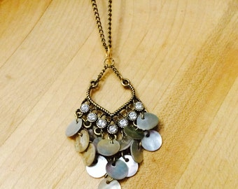 Shell and gem necklace
